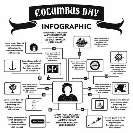 christopher columbus: Columbus Day infographic in simple style for any design