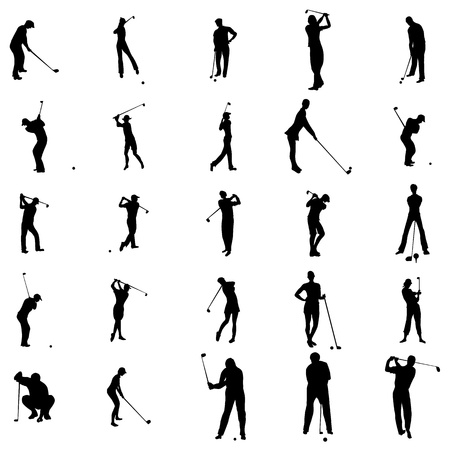 Golfer silhouette set icons in simple style on a white background