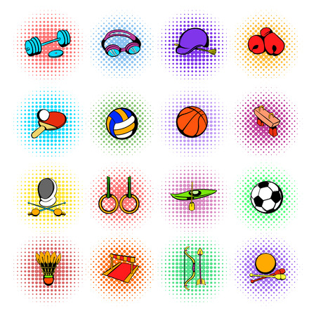 weightlifting gloves: Sports equipment icons set in comics style on a white background Illustration