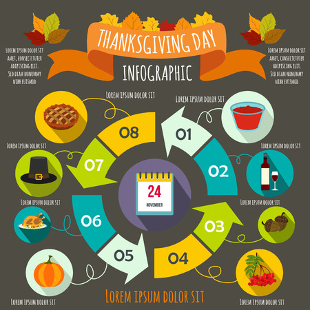 Thanksgiving Day infographic elements in flat style for any design Illustration