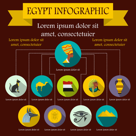 egypt anubis: Egypt infographic elements in flat style for any design