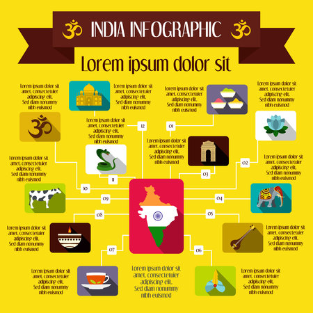 mausoleum: India infographic elements in flat style for any design