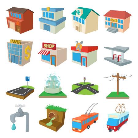 infraestructura: iconos de infraestructura urbana establecidas en el estilo de dibujos animados sobre un fondo blanco Vectores