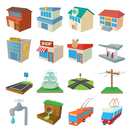 infrastructure buildings: Urban infrastructure icons set in cartoon style on a white background