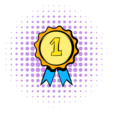 quality icon: First place rosette icon in comics style isolated on white background. First place rosette with blue ribbon Illustration