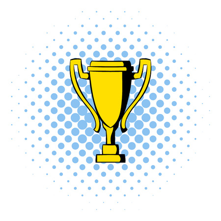 conquering: Golden trophy cup icon in comics style isolated on white background Illustration