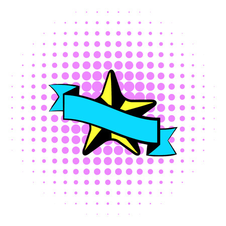 star award: Star award icon in comics style on white background. Star award with blue ribbon Illustration