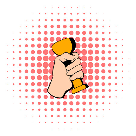 commendation: Hand holding winner trophy cup icon in comics style isolated on white background