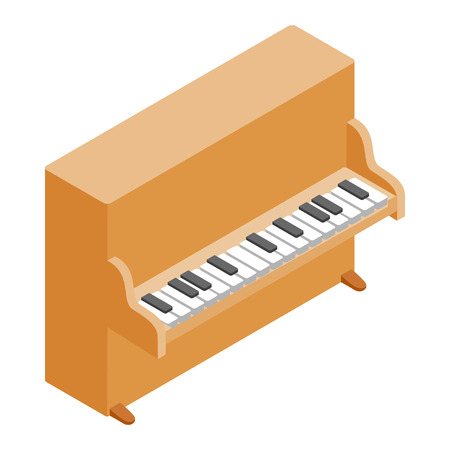 Brown upright piano icon in isometric 3d style on a white background