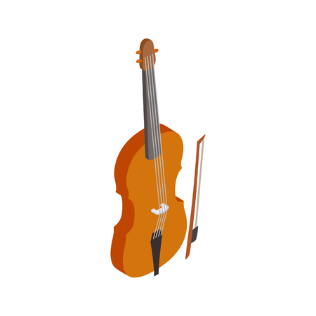 fiddlestick: Violin with fiddlestick icon in isometric 3d style on a white background