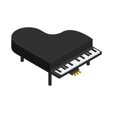 Icono negro de piano de cola en estilo isométrica 3d sobre un fondo blanco Ilustración de vector