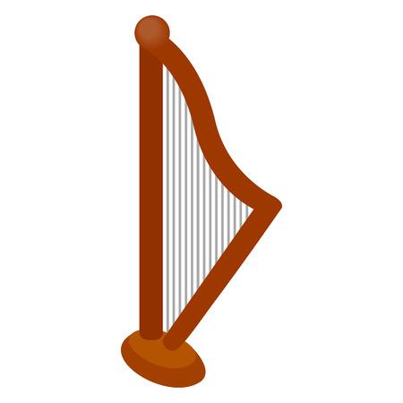 the harp: Icono de arpa en estilo isométrica 3d sobre un fondo blanco