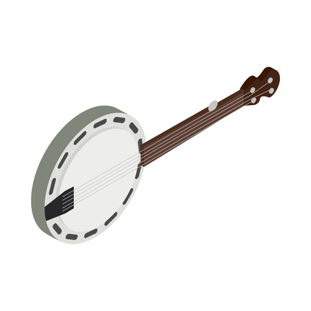bluegrass: Banjo icon in isometric 3d style on a white background
