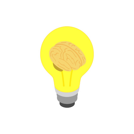 emergence: Light bulb brain icon in isometric 3d style isolated on white background. Emergence of the idea concept Illustration
