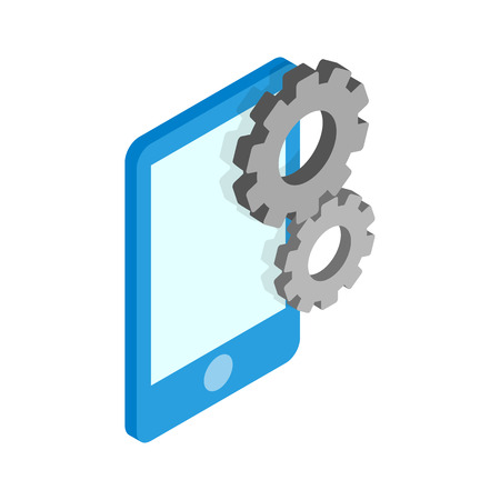 configure: Blue smartphone with gears icon in isometric 3d style isolated on white background