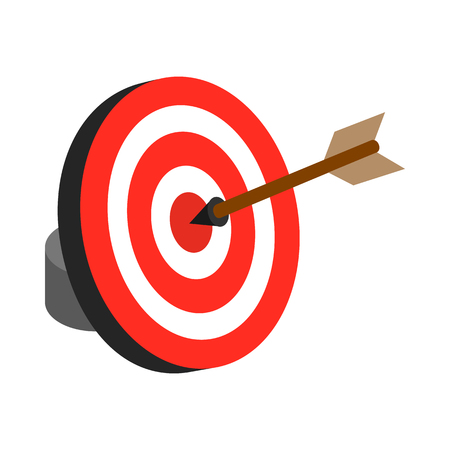 Arrow hit the target icon in isometric 3d style isolated on white background Ilustracje wektorowe