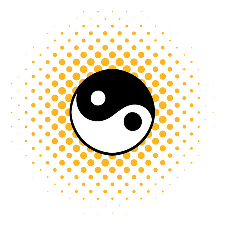 daoism: Ying yang icon in comics style on a white background
