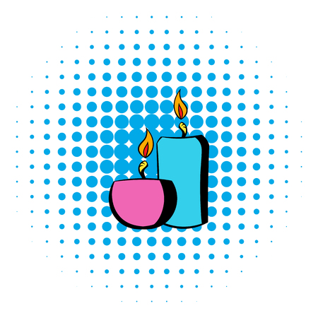 spa still life: Burning candles icon in comics style on a white background