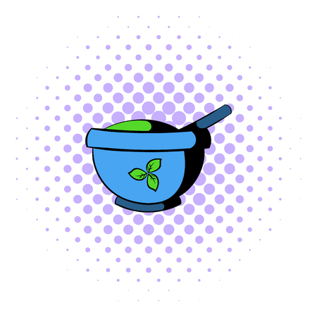medical preparation: Blue mortar and pestle icon in comics style on a white background