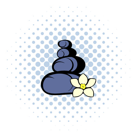 therapy group: Zen basalt stones icon in comics style on a white background