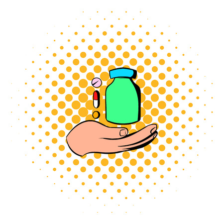 medication: Hand with vitamins and medication icon in comics style on a white background