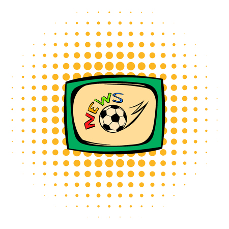 tv monitor: Football news icon in comics style isolated on white background. Football news on the TV monitor