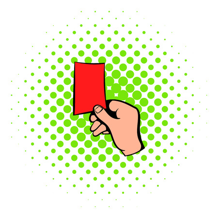 football judge: Raised red card icon in comics style isolated on white background. Soccer referee giving red card. Football judge hand with red card
