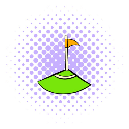 corner flag: Corner icon in comics style isolated on white background. Corner flag of footbal field Illustration