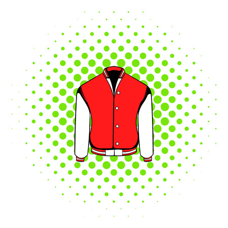 varsity: Sport or varsity red jacket icon in comics style isolated on white background. Front view