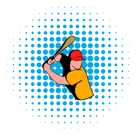 follow through: Baseball player icon in comics style isolated on white background. Baseball player in red baseball bat swinging to strike
