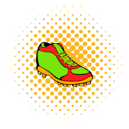 uniform green shoe: Baseball boot icon in comics style isolated on white background Illustration