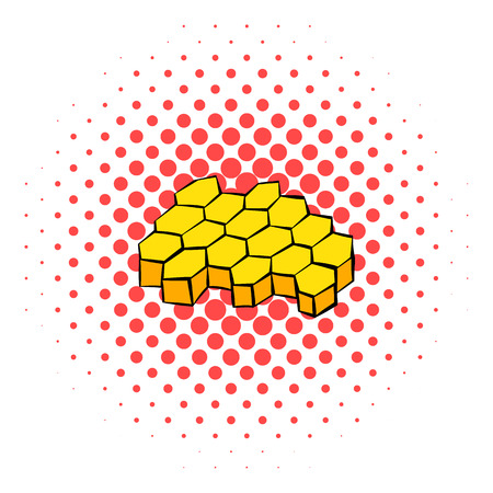 apiculture: Honeycomb icon in comics style on a white background