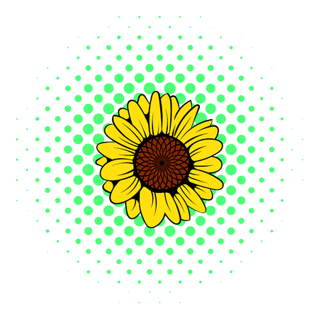 landscaped garden: Sunflower icon in comics style on a white background