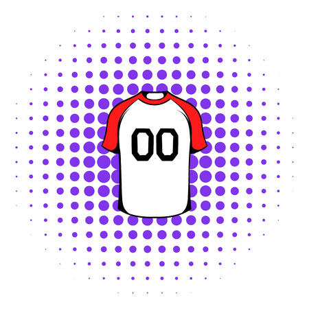 v neck: Hockey sweater icon in comics style on a white background