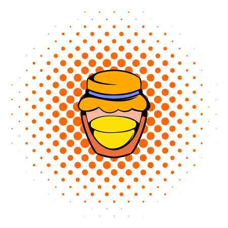 honeyed: Bank with honey icon in comics style on a white background