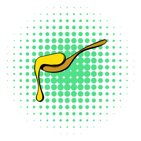 wooden spoon: Wooden spoon with honey icon in comics style on a white background