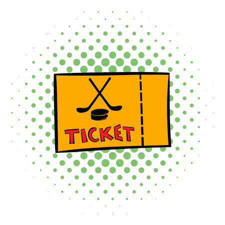 single seat: Hockey tickets icon in comics style on a white background Illustration