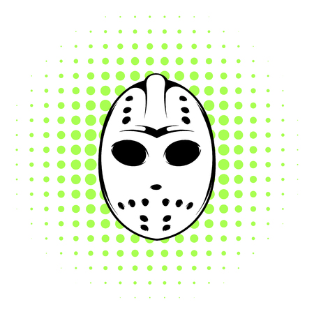 goal cage: Hockey mask icon in comics style on a white background