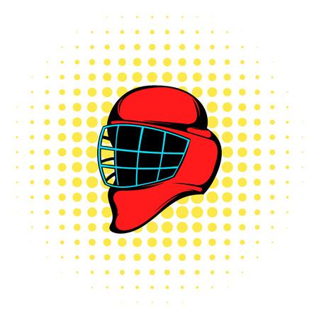 casco rojo: casco de hockey de color rojo con el icono de la jaula en estilo cómic sobre un fondo blanco
