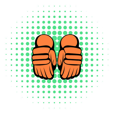 beat the competition: A pair of hockey gloves icon in comics style on a white background