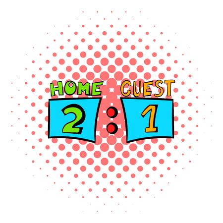 scoreboard timer: Scoreboard icon in comics style on a white background
