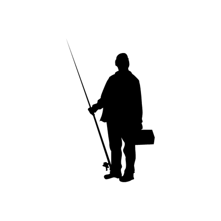 recreational fishermen: Fisherman silhouette black isolated on white background