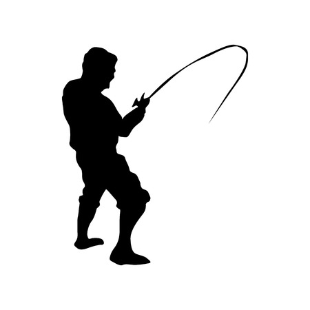 Fisherman silhouette black isolated on white background