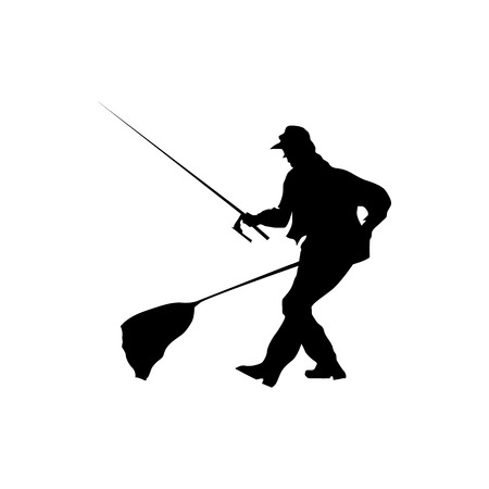 wet flies: Fisherman silhouette black isolated on white background