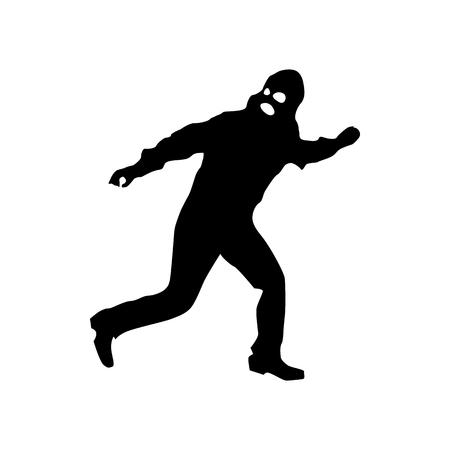 larceny: Robber silhouette black isolated on white background