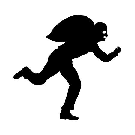 burglary: Robber silhouette black isolated on white background