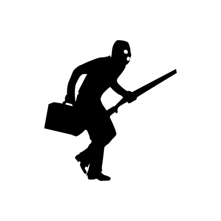 mugger: Robber silhouette black isolated on white background