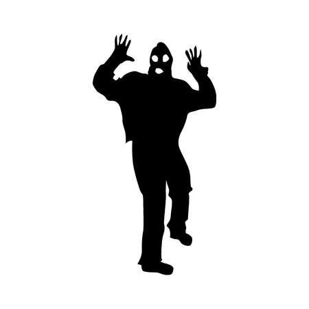 thug: Robber silhouette black isolated on white background