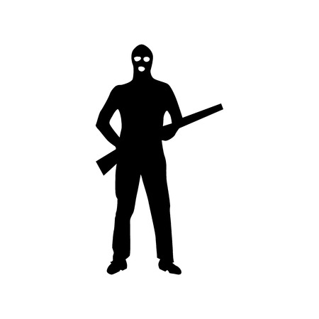 perpetrator: Robber silhouette black isolated on white background
