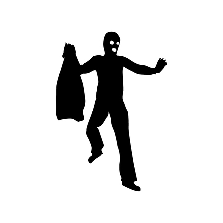 unsafe: Robber silhouette black isolated on white background